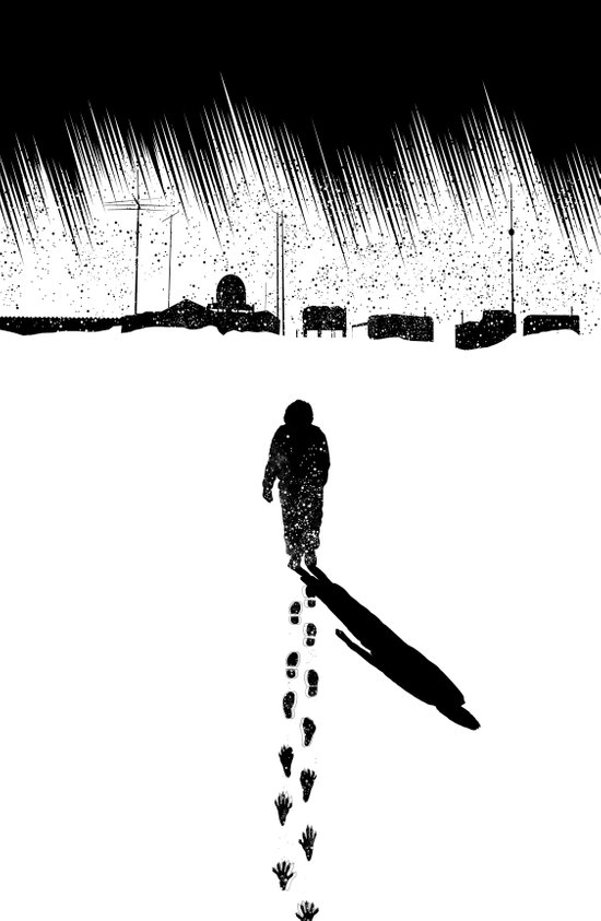 The Thing - Footprints in the snow Art Print