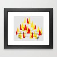 Flaming Skateboard Framed Art Print
