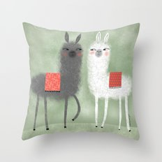 LAMAS WITH RED BLANKETS Throw Pillow