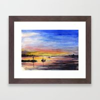 Sunset Watercolor Painting Landscape Art Framed Art Print