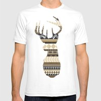Dusty Stag Head Aztec Pr… Mens Fitted Tee White SMALL