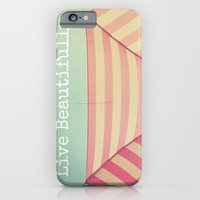 iPhone & iPod Case featuring Pink Umbrella Aqua Sky by simplyhue