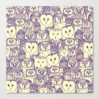 just owls purple cream Canvas Print