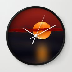 Sun on Red and Blue Wall Clock