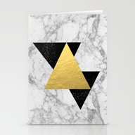 Marble Tri Black & Gold … Stationery Cards