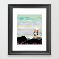Woman On Beach #8 Framed Art Print