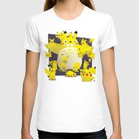 Totoro & Pikachu Womens Fitted Tee White SMALL