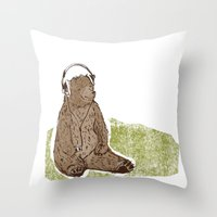 Headphone Bear Throw Pillow