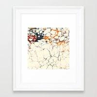 Marble Cream Blue / Orange Square # 1 Framed Art Print