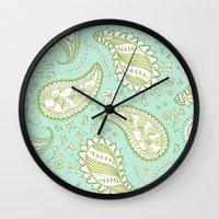 Pretty Paisley - Aqua/Gr… Wall Clock