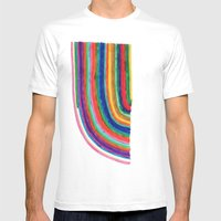 Curved Stripes Mens Fitted Tee White SMALL