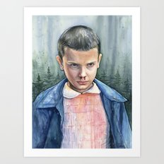 Eleven from Stranger Things Watercolor Portrait Art Art Print