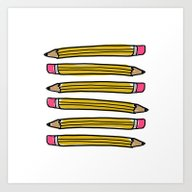 Art Print featuring Back To School Pencils by Leah Flores
