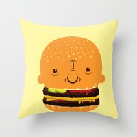 Cheeseburgerhead Throw Pillow