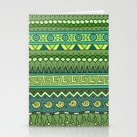 Yzor Pattern 009 Green-b… Stationery Cards