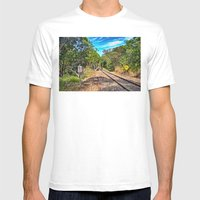 Down The Track A Bit Mens Fitted Tee White SMALL