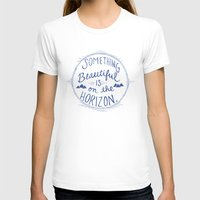 Something Beautiful is On the Horizon Blue Womens Fitted Tee White SMALL