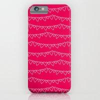 Red & White Heart Garland iPhone 6 Slim Case