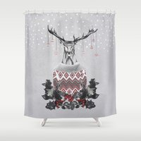 Christmas Deer (by Maria… Shower Curtain