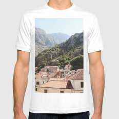 Morning in Montenegro SMALL White Mens Fitted Tee