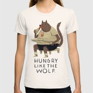 Hungry Like The Wolf Womens Fitted Tee Natural SMALL