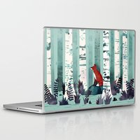 autumn Laptop & iPad Skins featuring The Birches by littleclyde
