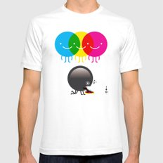 CMY makes K dizzy Mens Fitted Tee White SMALL