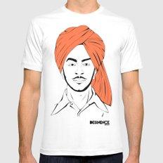 Bhagat Singh #IpledgeOrange White Mens Fitted Tee SMALL