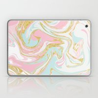 Pink Blue Gold Ink Marble Laptop & iPad Skin