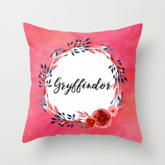 HP Gryffindor in Watercolor Throw Pillow