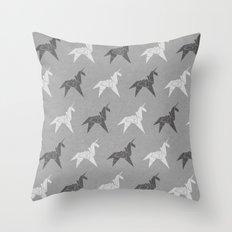 Origami Unicorn Grey Throw Pillow