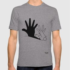 Rabbit Hand Shadow Mens Fitted Tee Athletic Grey MEDIUM
