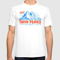 Visit Twin Peaks (orange) Mens Fitted Tee White SMALL