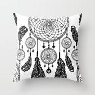 Dreamcatcher (Black & Wh… Throw Pillow