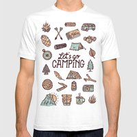 Lets Go Camping Mens Fitted Tee White SMALL