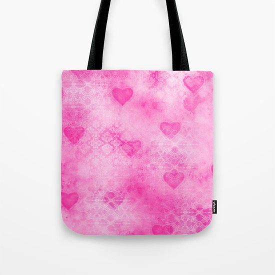 Pink Hearted Tote Bag