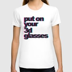 3D Glasses Funny Quote Womens Fitted Tee White SMALL