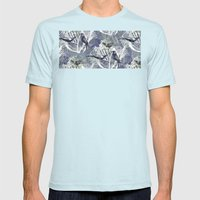Birds Pattern Mens Fitted Tee Light Blue SMALL