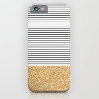 iPhone Cases featuring Minimal Gold Glitter Stripes by Allyson Johnson