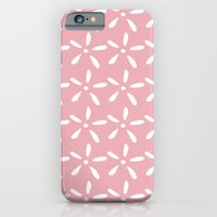 White flowers on pink iPhone 6 Slim Case