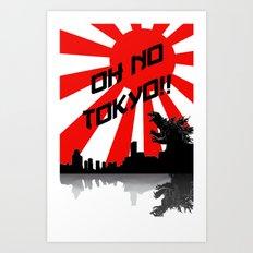 Godzilla - Oh No Tokyo Art Print