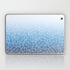 Ombre blue and white swirls doodles Laptop & iPad Skin