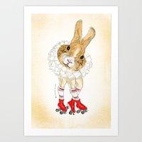 Roller Bunny Art Print