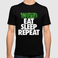 Weed Eat Sleep Repeat Mens Fitted Tee Black SMALL