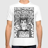 Brain Damage  Mens Fitted Tee White SMALL