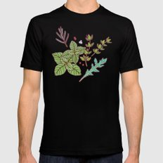 dark herbs pattern Mens Fitted Tee Black SMALL