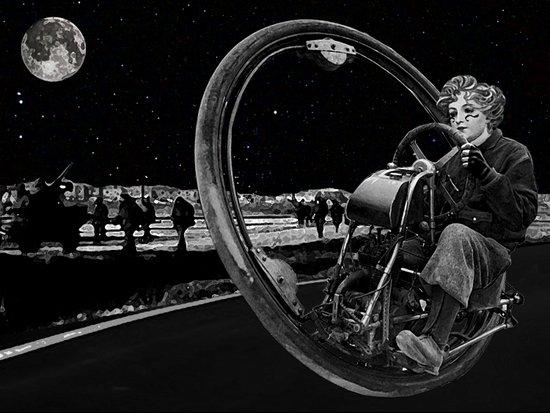 Getaway - Dieselpunk Monowheel Art Print