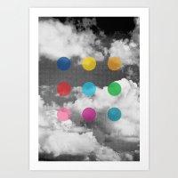 Storm Clouds + Colored Dots Art Print