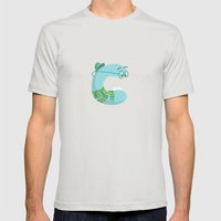letter C Mens Fitted Tee Silver SMALL