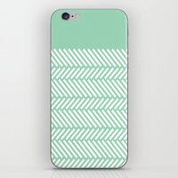 Herringbone Mint Boarder iPhone & iPod Skin
